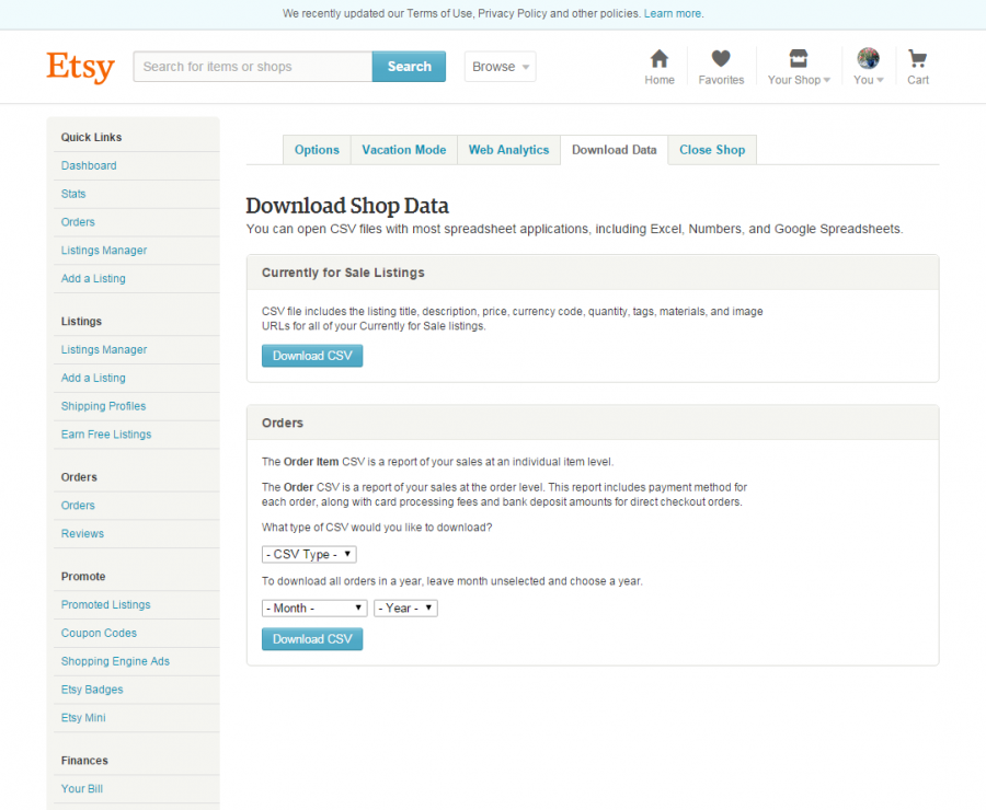 Download CSV From Etsy Before Import To PrestaShop