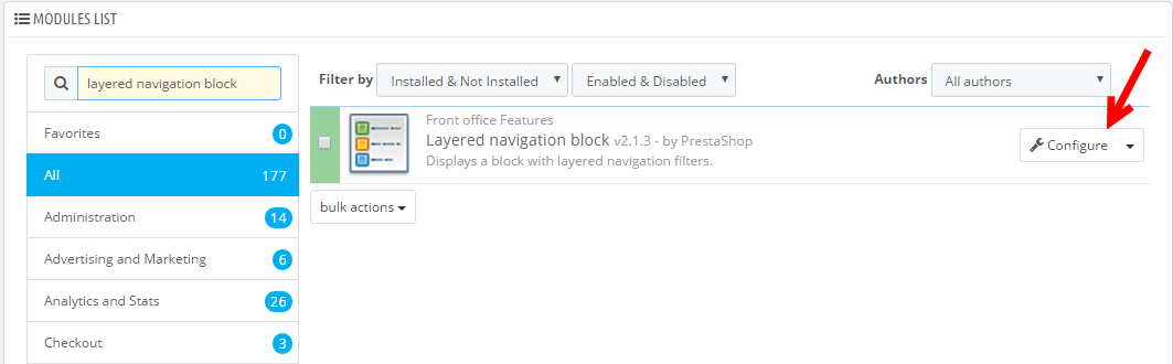 configure prestashop layered navigation module