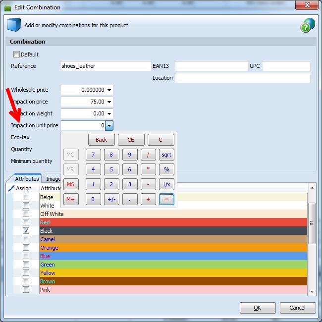 prestashop impact on combination price in combination edit form
