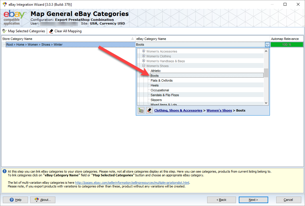 map prestashop categories with ebay ones in addon