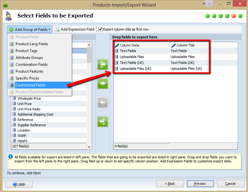 Import/Export of Customized fields labels function has been added