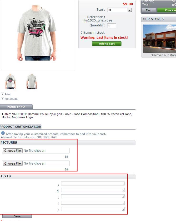 Store Manager Prestashop custom fields support