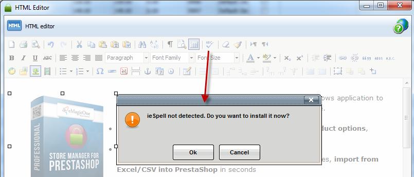 Store Manager for PrestaShop spellchecker install