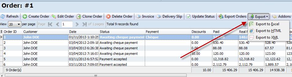 Prestashop Orders export to XML