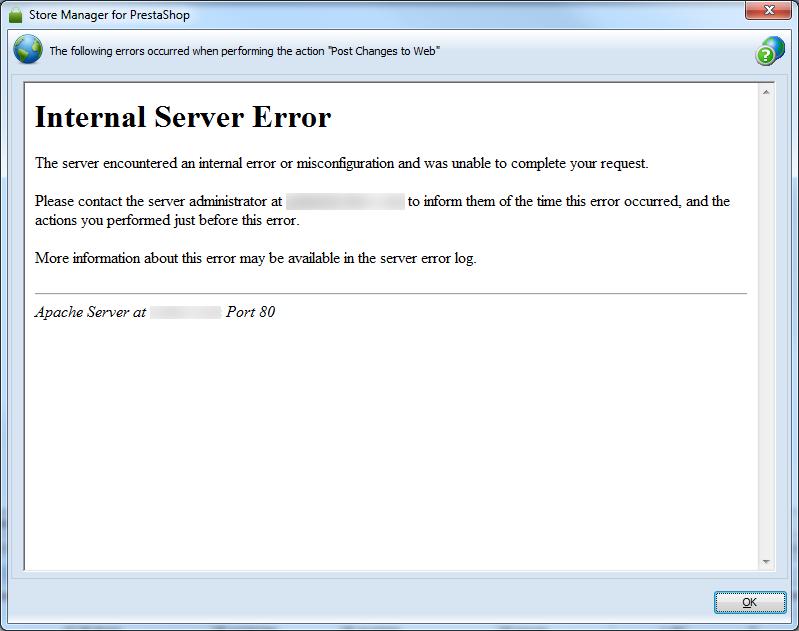 error response window
