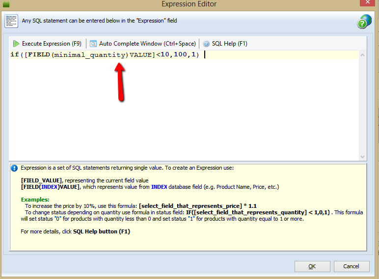 Now expressions are available in Mass Product Changer - Expression Window