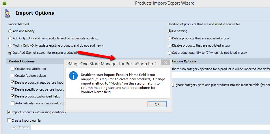 prestashop import notification