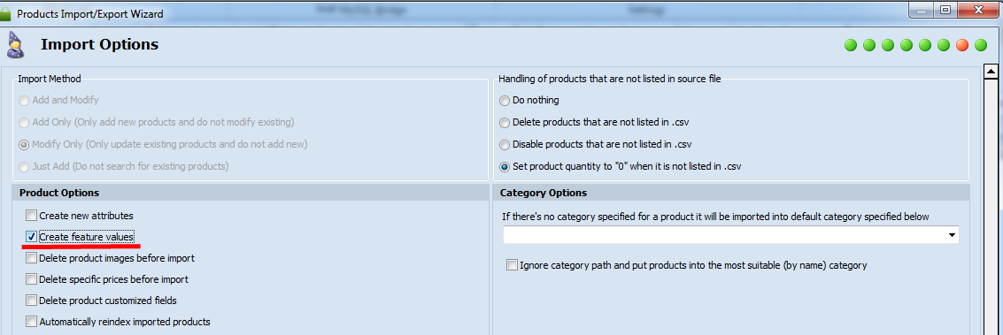 create prestashop features in the process of import