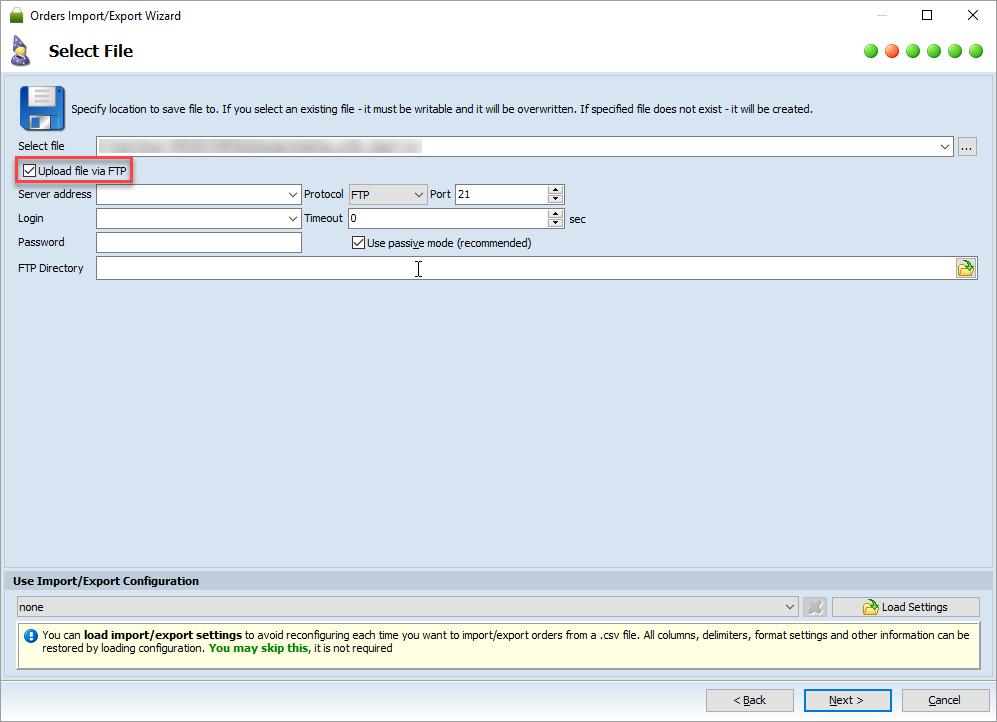 upload order export file on ftp