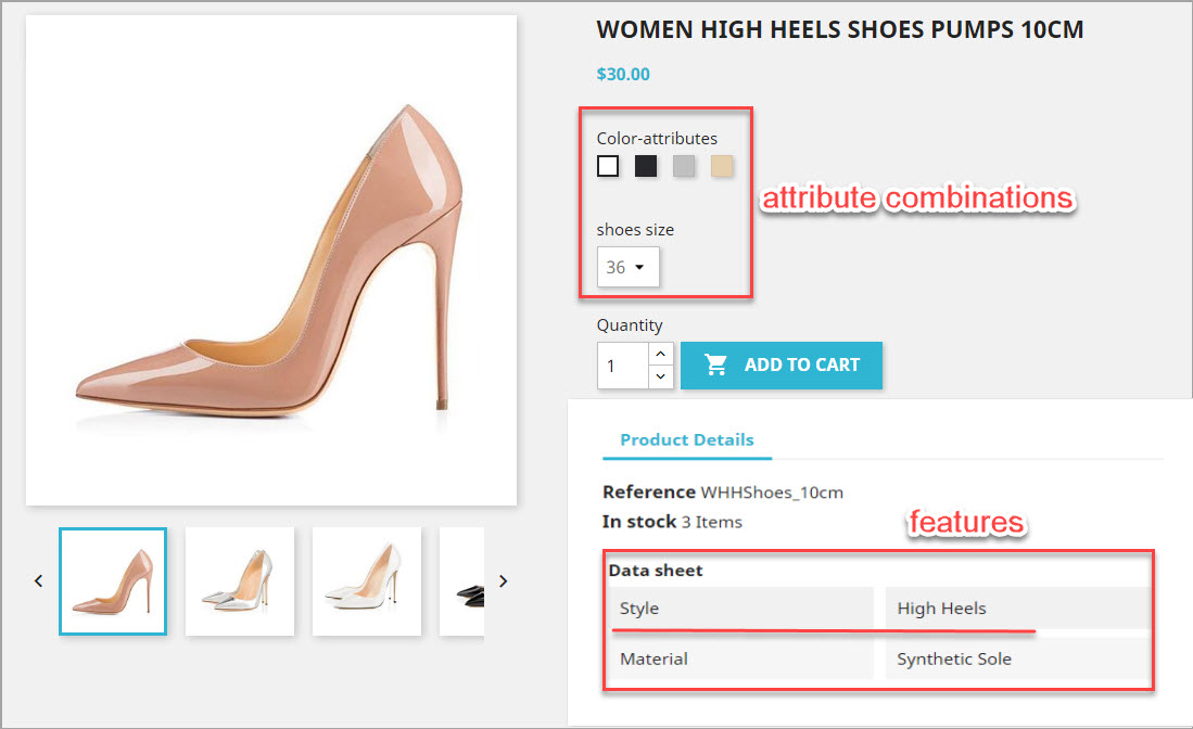 PrestaShop Attribute Combinations and Features