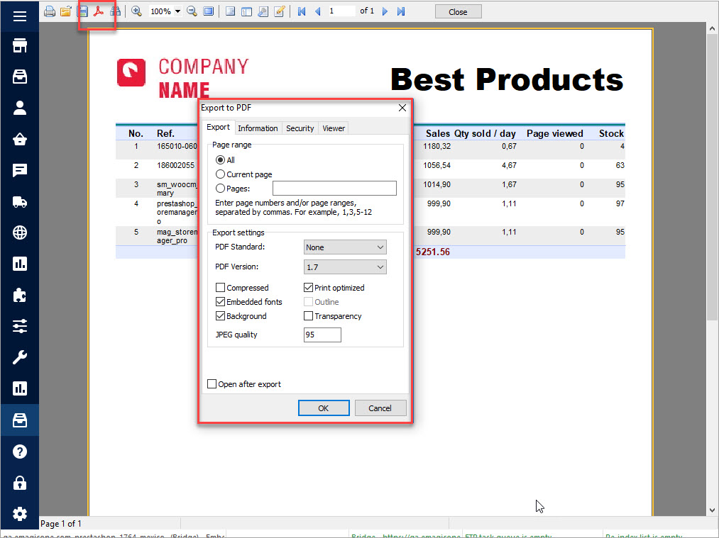 PrestaShop Custom Reports Best Products FastReport Export to PDF