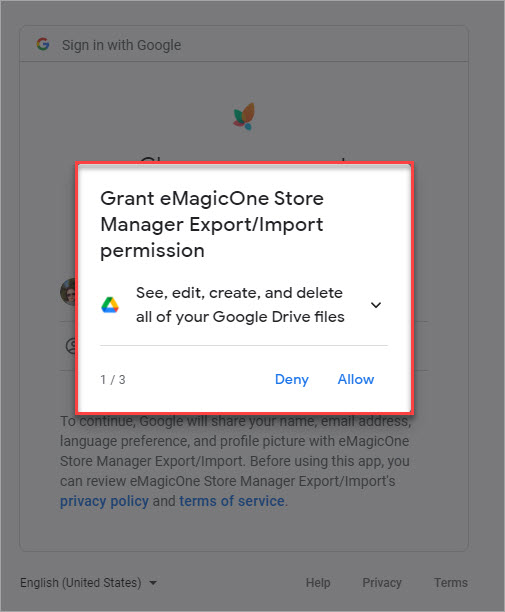 Grant eMagicOne Store Manager Export Import Permission 1 to Manage Files
