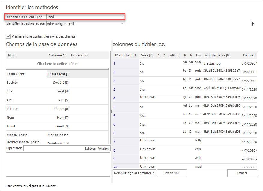 Attribuer les Colonnes du Fichier csv aux Champs de la Base de Données pour Importer les Clients PrestaShop