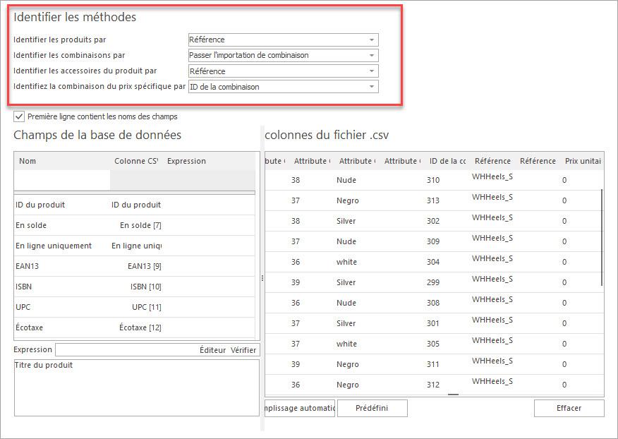 Attribuer les Colonnes du Fichier csv aux Champs de la Base de Données pour Importer les Produits PrestaShop