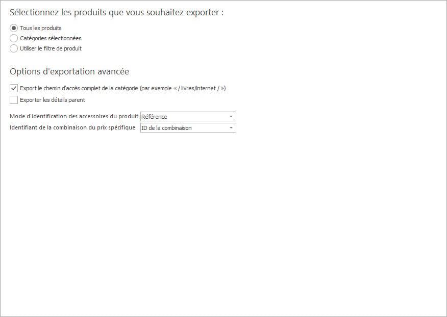 Cochez L'option pour Exporter L'arborescence des Catégories Lors de L'exportation des Produits PrestaShop