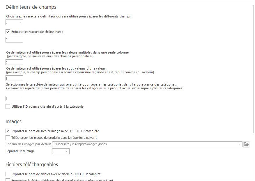 Définir les Délimiteurs du Fichier D'exportation des Produits PrestaShop