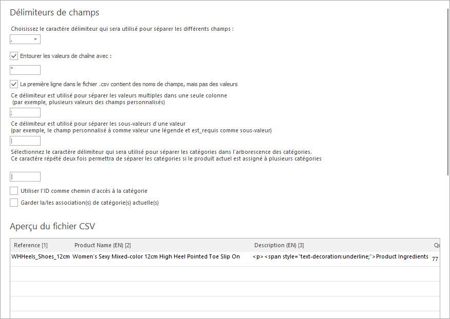 Définir les Délimiteurs du Fichier D'importation des Produits PrestaShop