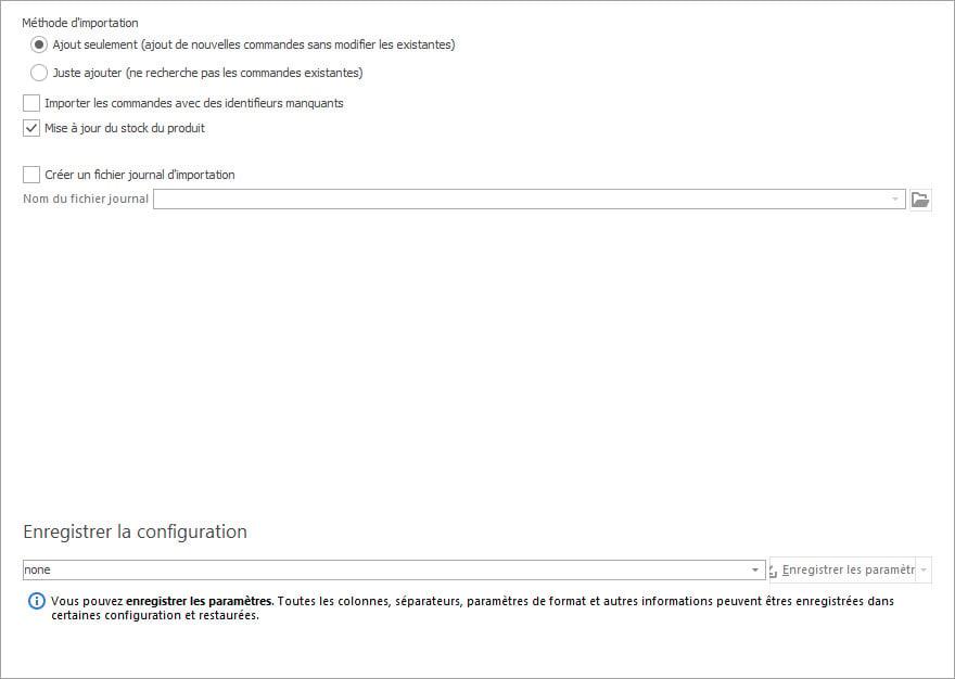 Options D'importation des Commandes PrestaShop dans l'Assistant