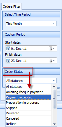 You can filter orders by their status in Store Manager for PrestaShop